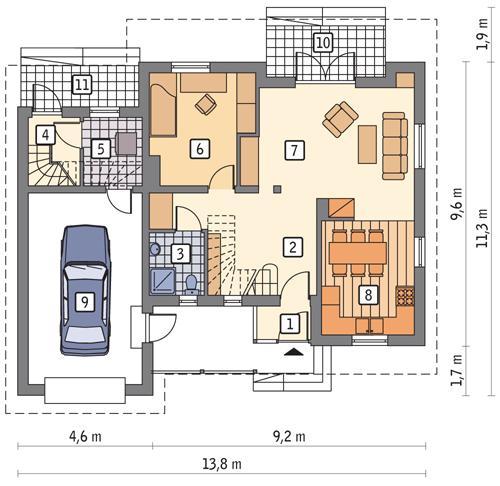 Rzut parteru POW. 98,5 m²