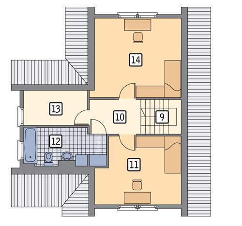 Rzut poddasza POW. 58,4 m²