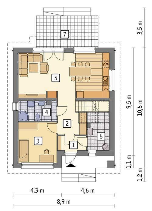 Rzut parteru POW. 65,5 m²