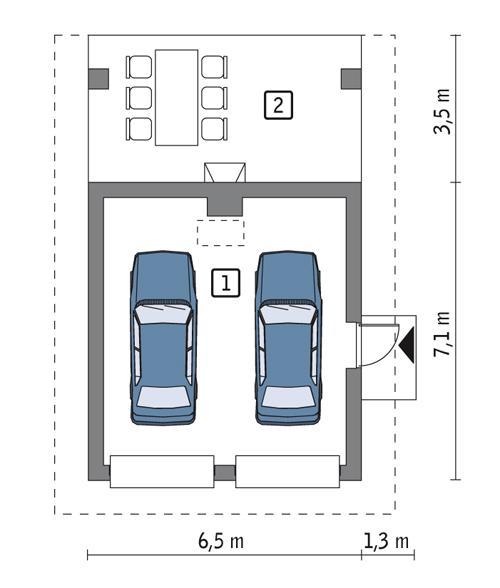 Rzut parteru POW. 35,9 m²
