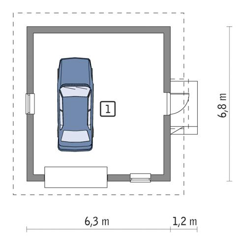 Rzut parteru POW. 35,7 m²