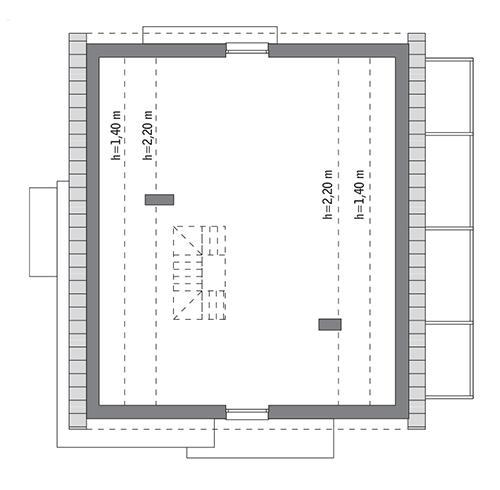 Rzut poddasza: do indywidualnej adaptacji (84,2 m2 powierzchni użytkowej)