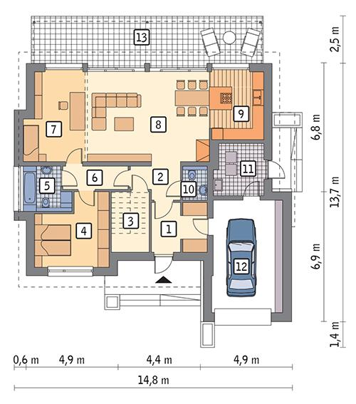 Rzut parteru POW. 126,6 m²