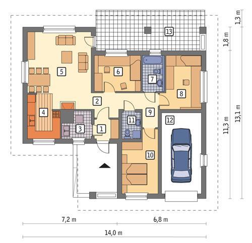Rzut parteru POW. 107,7 m²