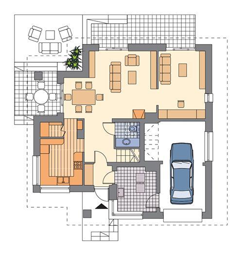 Rzut parteru: Wariant parteru, jeśli nie planujemy garażu dwustanowiskowego