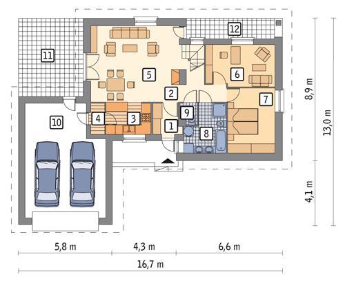 Rzut parteru POW. 111,8 m²