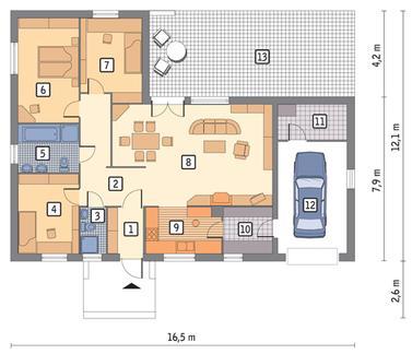 RZUT PARTERU POW. 105,7 m²