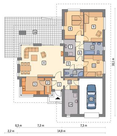 RZUT PARTERU POW. 120,3 m²