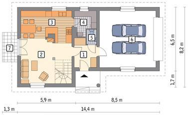 RZUT PARTERU: wariant POW. 42,1 m²